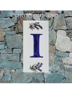 Plaque Lettre (I) au détail décor Brin de Lavande