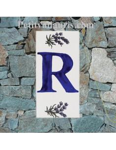 Plaque Lettre (R) au détail décor Brin de Lavande