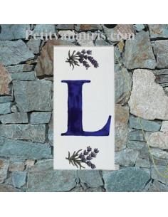 Plaque Lettre (L) au détail décor Brin de Lavande