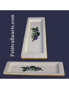 Repose-cuillère en faïence décor Olive bleue