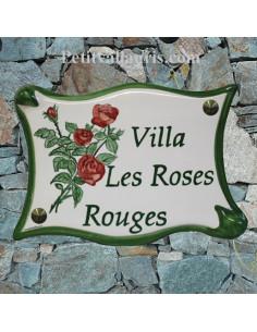 Plaque pour maison parchemin en céramique décor roses rouges