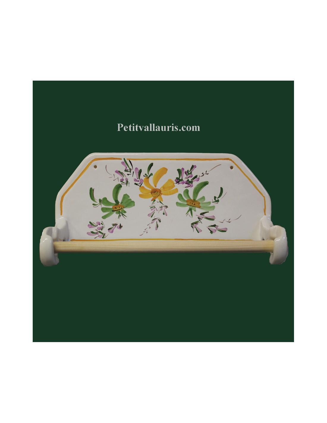 d rouleur de papier essuie tout mutal pour cuisine en fa ence d cor fleurs vertes et jaunes. Black Bedroom Furniture Sets. Home Design Ideas