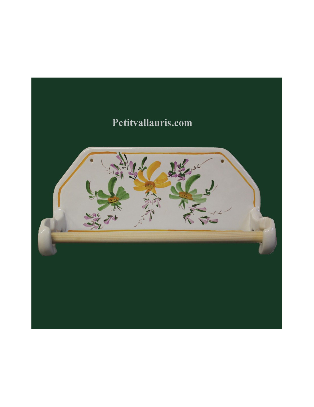 D rouleur de papier essuie tout mural d cor fleurs vertes et jaunes le petit vallauris - Derouleur essuie tout mural ...