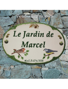 Plaque en céramique émaillée pour maison de forme ovale décor artisanal Petits Oiseaux + personnalisation