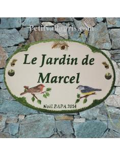 Plaque pour maison ovale en céramique décor Petit Oiseau