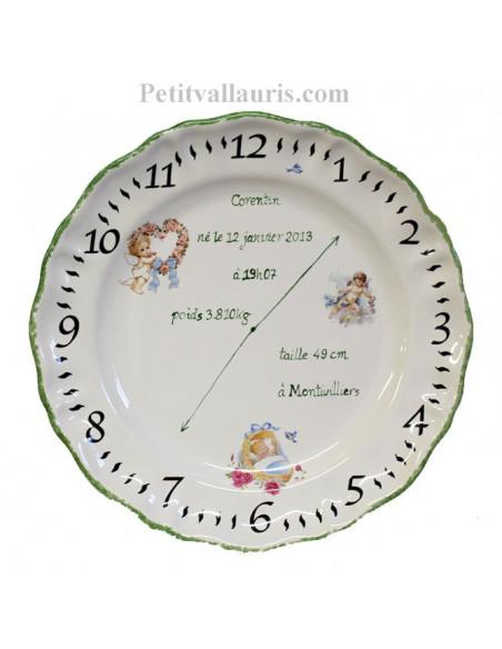 Assiette de naissance personnalisée en faience décor Ange bord et texte vert