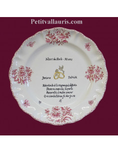 Assiette souvenir 30 ans de mariage Louis XV décor rose Poème Noces de perle