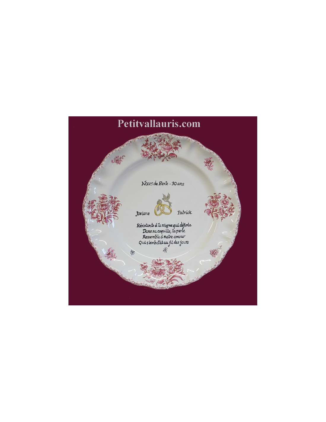 Assiette souvenir 30 ans de mariage louis xv d cor rose for Decoration 5 ans de mariage
