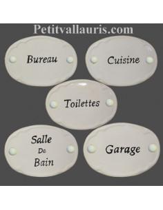 Plaque de porte ovale en céramique toute blanche + texte entièrement personnalisable
