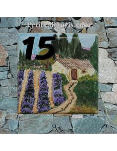Numéro de Maison pose horizontale décor paysage campagne provençale
