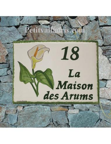 Plaque pour maison c ramique personnalis e d cor fleurs for Plaque de maison personnalisee