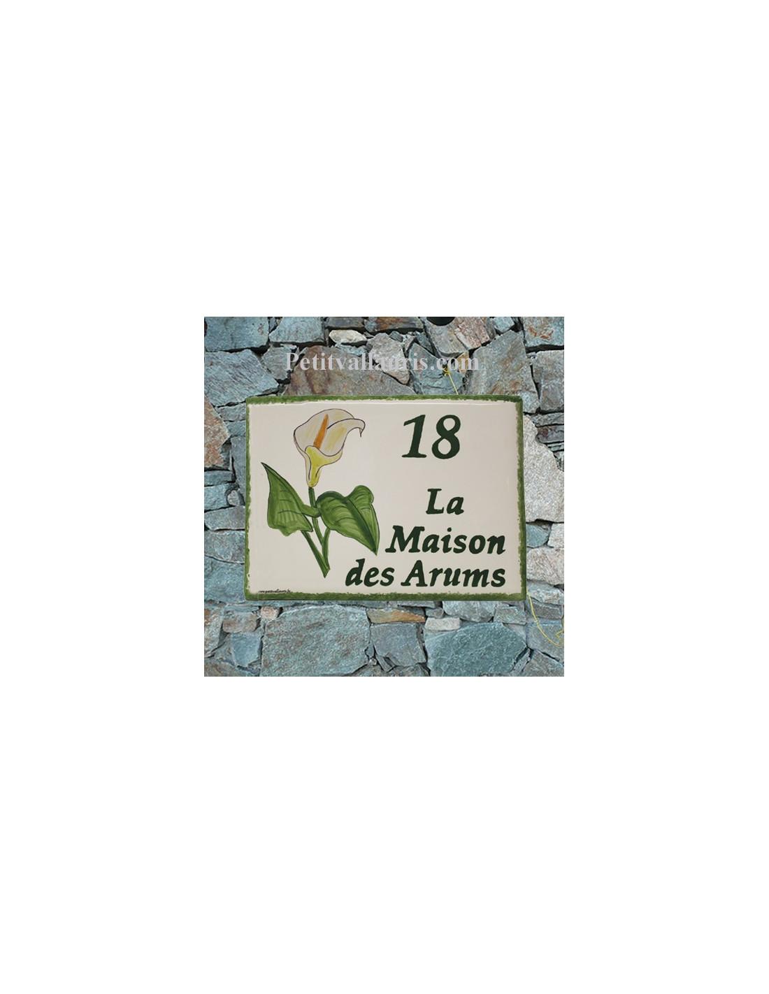 plaque pour maison c ramique d cor fleurs arums inscription personnalis e couleur verte le. Black Bedroom Furniture Sets. Home Design Ideas