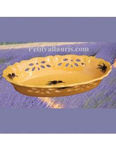 Corbeille ovale ajourée provençale décor Olive noire