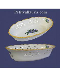 Corbeille ovale ajourée en céramique décor Olives bleues