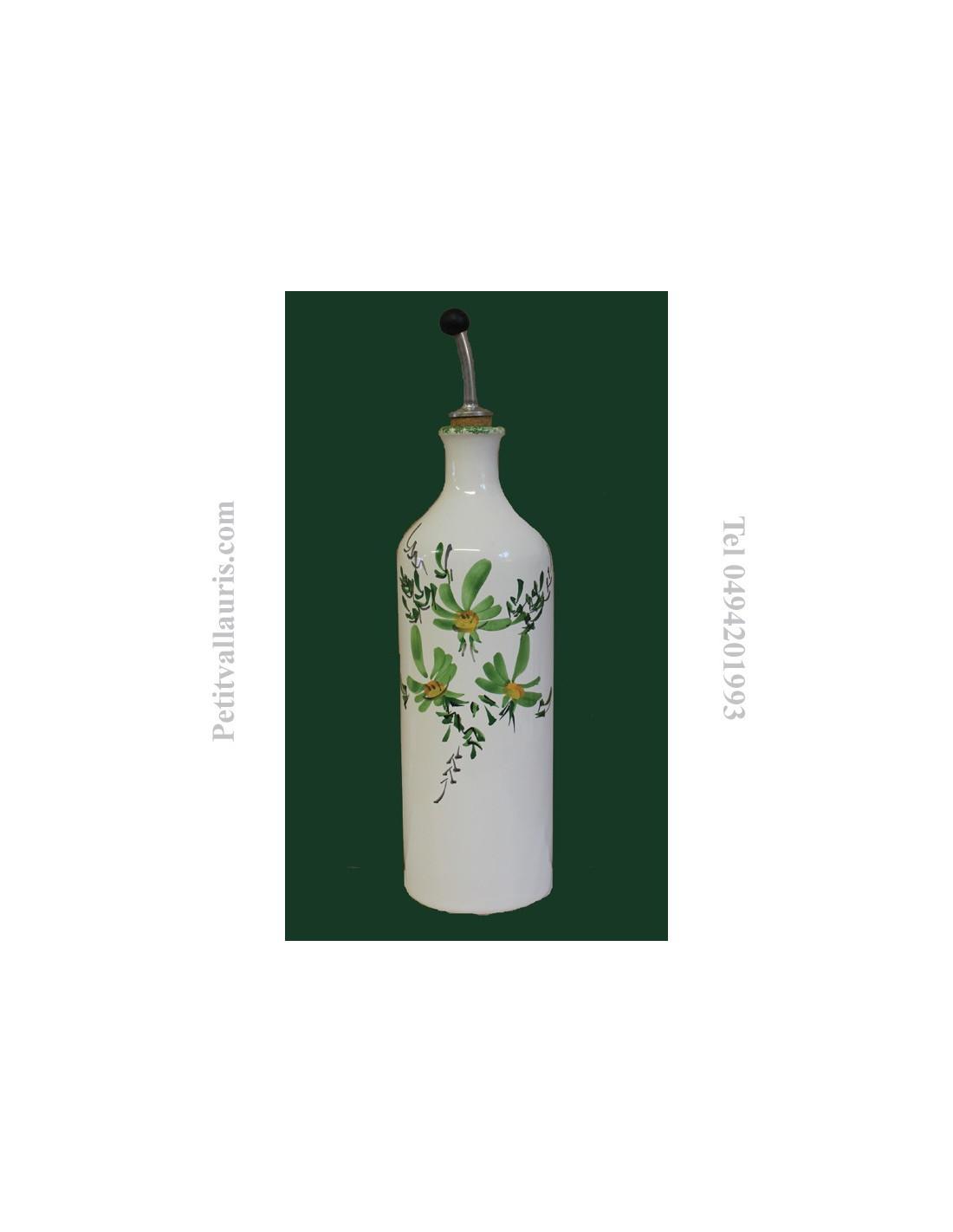 Faience Vert Bouteille : Huilier bouteille en faïence décor fleuri vert le petit