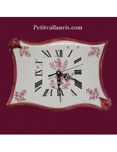 Horloge faïence modèle parchemin décor Tradition Vieux Moustiers rose