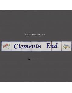 Fresque décorative décor petits oiseaux texte personnalisé bleu