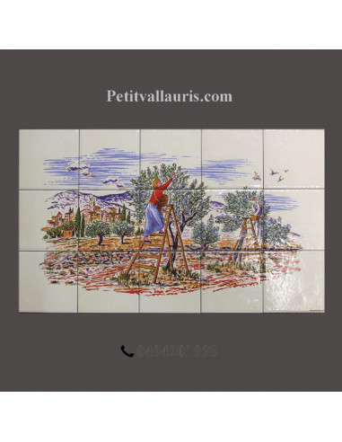 Fresque c ramique rectangulaire d cor r colte des olives for Le petit vallauris