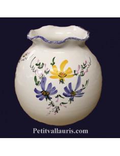 Vase boule dentelle décor Fleuri jaune et bleu