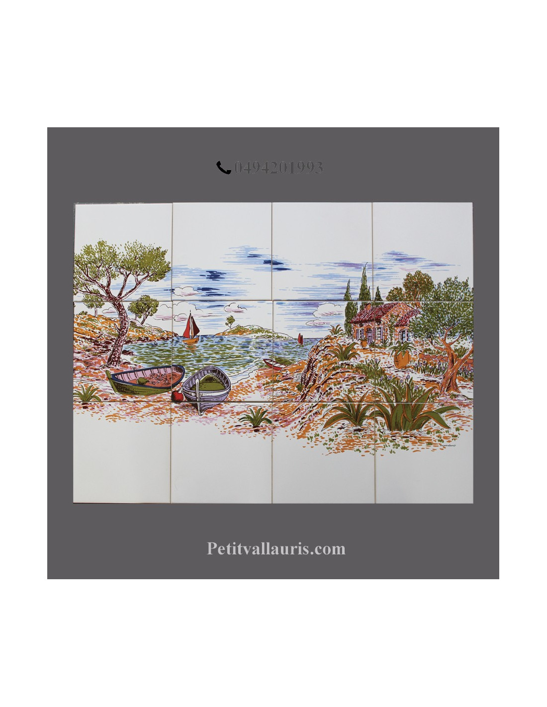 Fresque c ramique rectangulaire d cor bord de mer le for Le petit vallauris