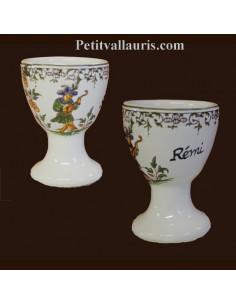 Coquetier décor Tradition Vieux Moustiers polychrome personnalisé Prénom