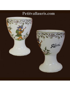 Coquetier individuel décor Tradition Vieux Moustiers polychrome