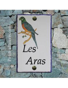Plaque pour maison en céramique émaillée décor perroquet - aras