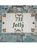 Plaque de Villa rectangle Décor fleurs tradition vieux moustiers inscription personnalisée noire