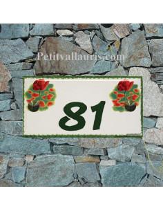Plaque de maison faience émaillée décor coquelicots inscription personnalisée verte