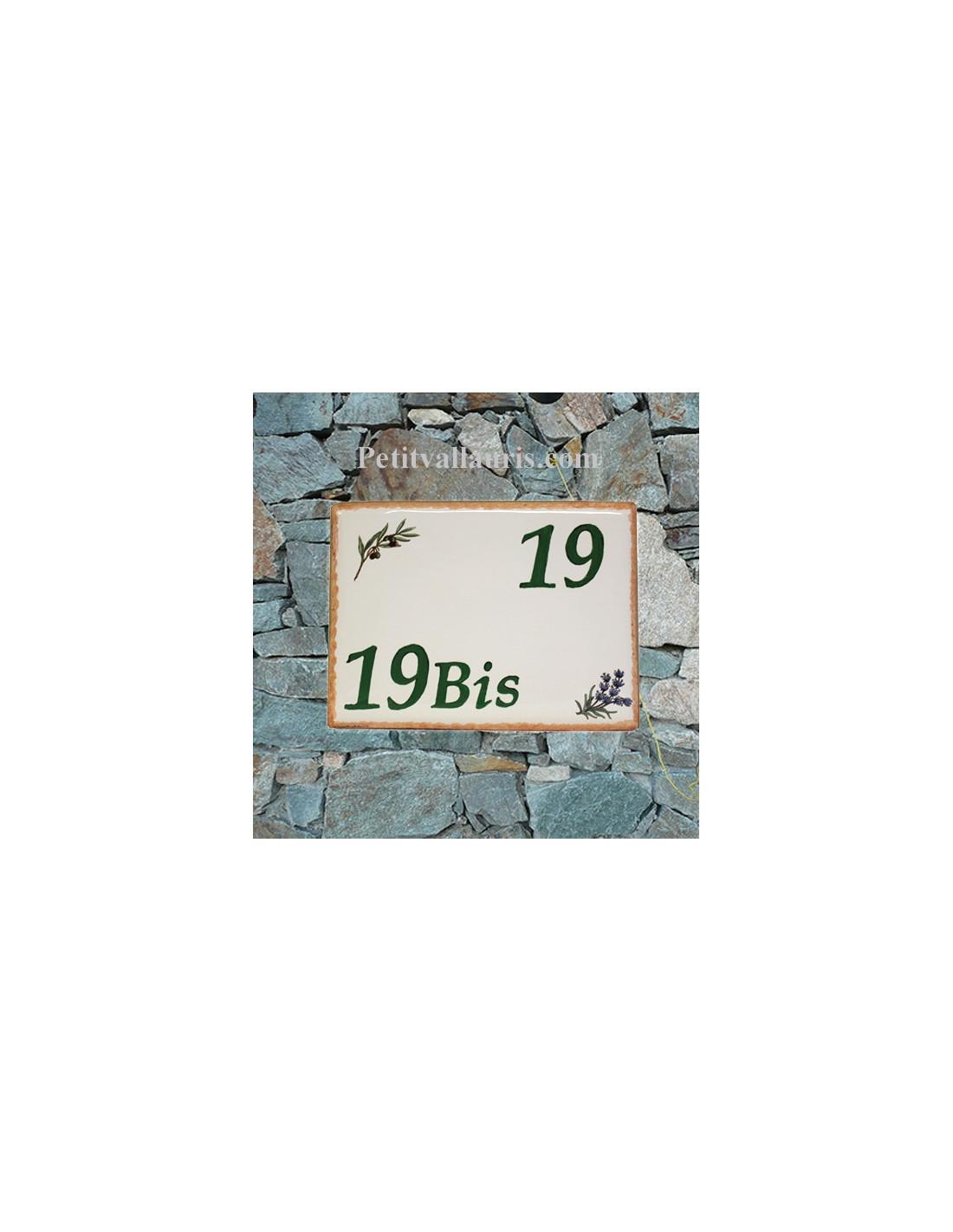 plaque de villa c ramique d cor brins d 39 olivier et de lavande inscription verte bord plaque le. Black Bedroom Furniture Sets. Home Design Ideas