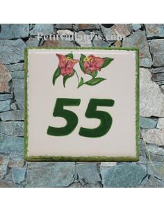 Numéro de maison décor fleurs bougainviliers pose horizontale
