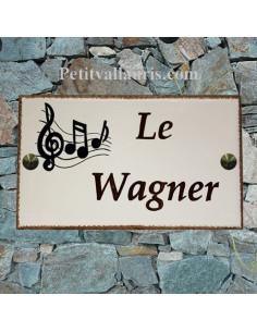 Plaque pour résidence rectangle décor gamme de musique inscription personnalisée marron et bord ocre