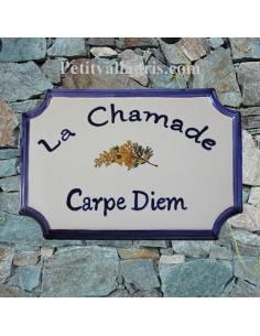 Plaque de Maison rectangle décor brins de mimosas inscription personnalisée arrondit et bord bleu
