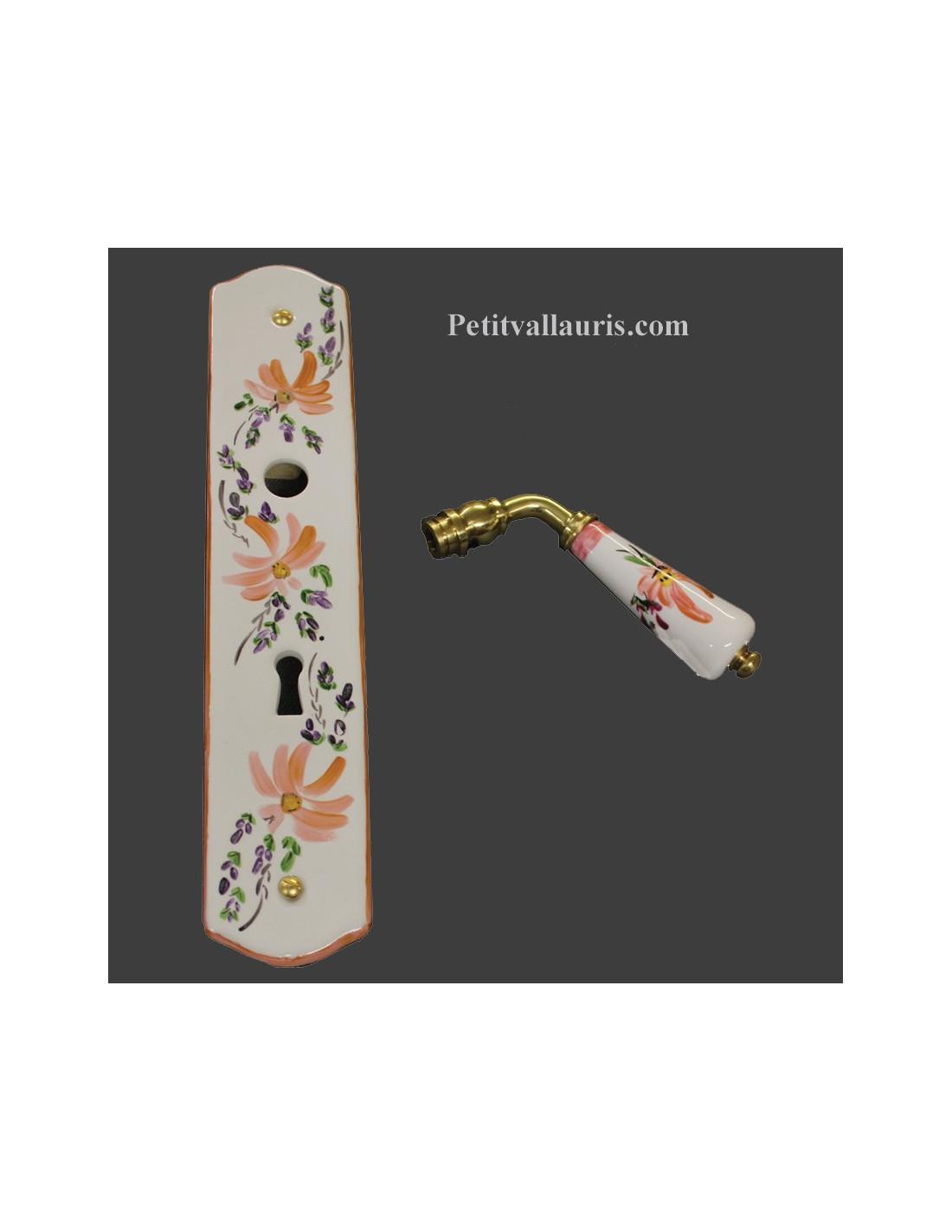 Plaque de propret d cor fleur saumon avec serrure le petit vallauris - Plaque de proprete porte ...