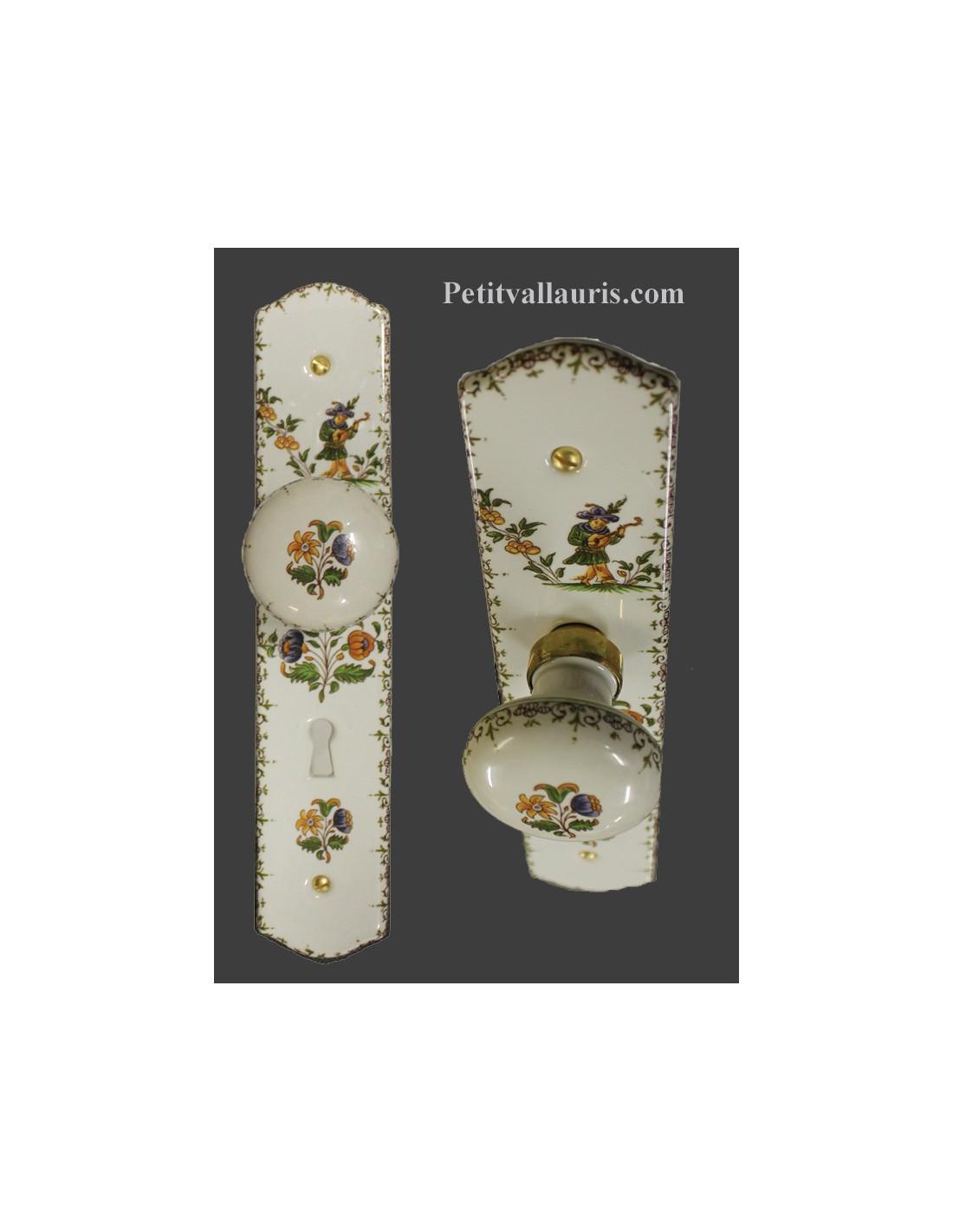 Plaque de propret avec poign e ronde d cor moustiers avec for Plaque de porte decorative