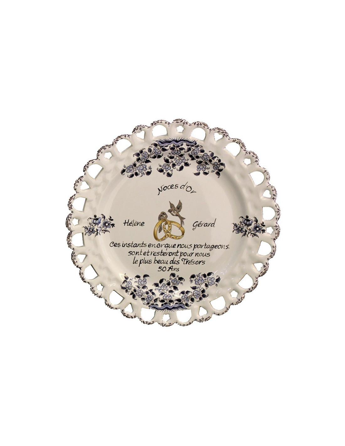 Assiette de mariage mod le tournesol d cor bleu po me - Decoration noce d or ...