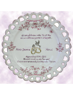 Assiette de Mariage modèle Tournesol rose marquage personnalisée noces de diamant texte rose