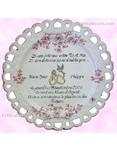 Assiette de Mariage modèle Tournesol rose citation personnalisée noces d'argent texte noir