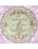 Assiette de Mariage modèle Tournesol rose citation personnalisée noces d'or,inscription rose