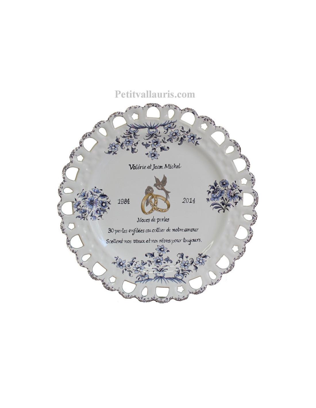 Assiette De Mariage Modele Tournesol Bleu Poeme Personnalise Noces