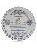 Assiette de Mariage modèle Tournesol bleu poème noces d'émeraude personnalisé