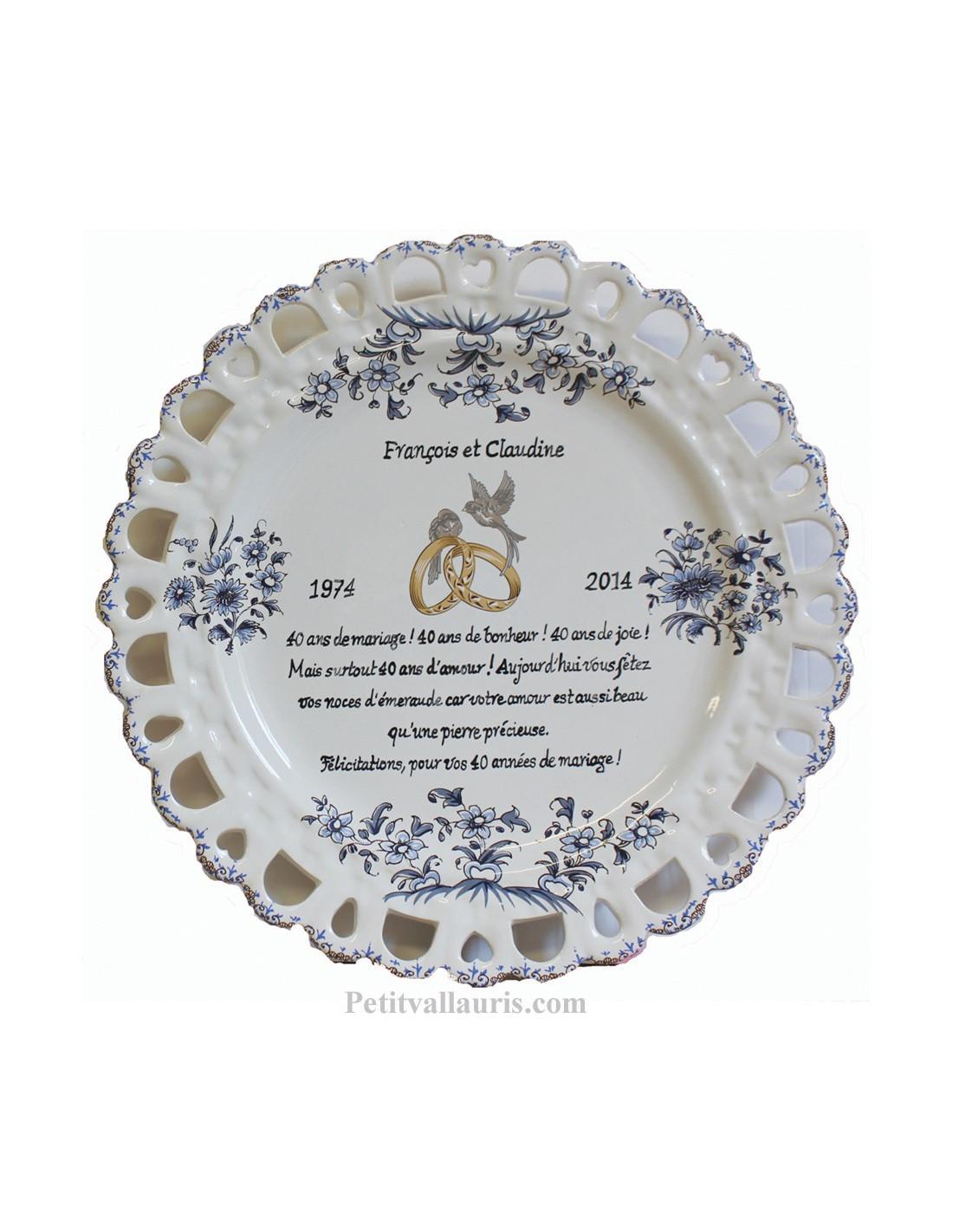 Assiette de mariage mod le tournesol bleu po me noces d 39 meraude personnalis le petit vallauris - Anniversaire de mariage noce ...