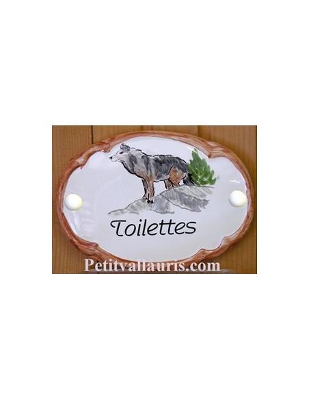 Plaque de porte en faience blanche modèle ovale motif artisanal le loup avec personnalisation