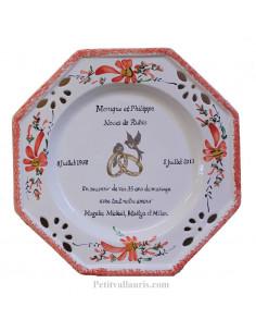 Assiette de Mariage octogonale décor fleurs rouge coquelicots avec poème noces de rubis