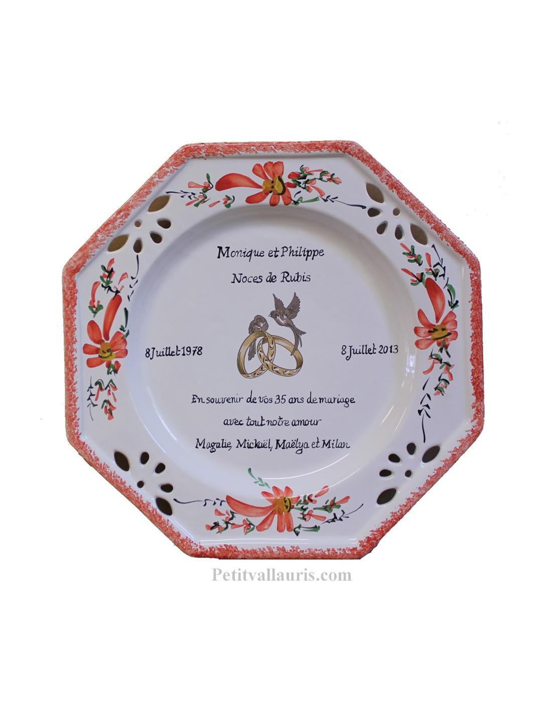 Grande assiette de mariage mod le octogonale d cor fleurs - 8 ans de mariage noce de ...