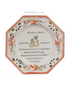 Assiette de Mariage octogonale décor fleurs rouge coquelicots avec poème noces de diamant
