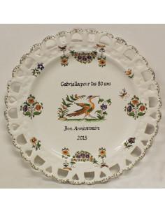 Assiette d'anniversaire ajourée modèle Tournesol décor Tradition Vieux Moustiers