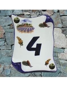 Plaque de Maison parchemin pose verticale décor champs de lavande inscription personnalisée bleue