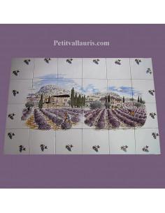 Fresque murale sur carreaux de faience blancs 15x15 décor champs et récolte des lavandes + frise grappes de raisin
