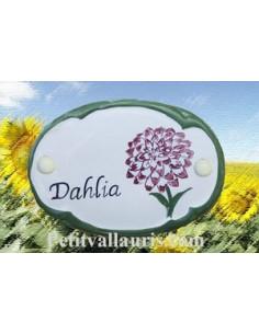 Plaque de porte décor fleur dalhia